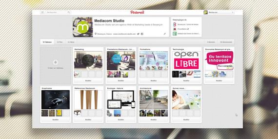 la page Pinterest de Mediacom Studio